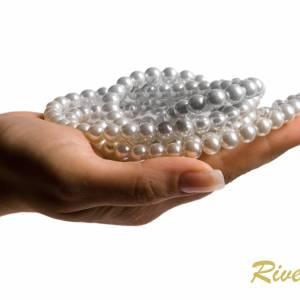 Halskette mit Anhängern, 925 Silber, Perlenkette creme weiß, Kette kleine Perlen, Brautschmuck, Perlen Collier Bild 5