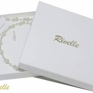 Halskette mit Anhängern, 925 Silber, Perlenkette creme weiß, Kette kleine Perlen, Brautschmuck, Perlen Collier Bild 6