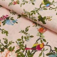 BAUMWOLL VISKOSE DRUCK FLOWERS & BIRDS apricot - bunt (1m/10,-€) Bild 1
