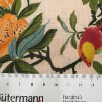 BAUMWOLL VISKOSE DRUCK FLOWERS & BIRDS apricot - bunt (1m/10,-€) Bild 3