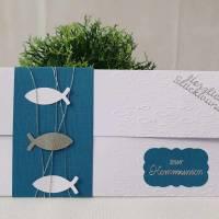 Gutschein- oder Geldgeschenkverpackung Kommunion - Konfirmation - Taufe, Weiß-Petrol mit Fischen Bild 1