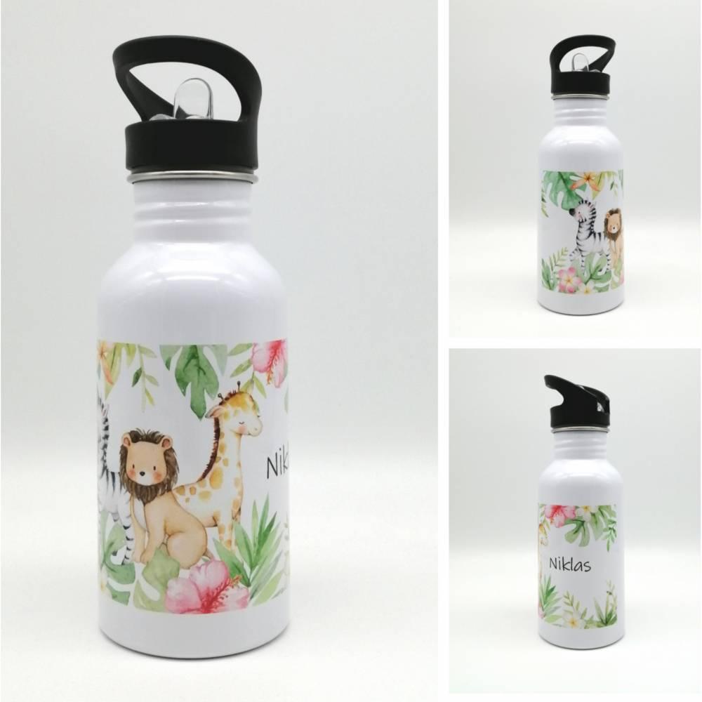 """Trinkflasche mit Namen """"Dschungeltiere"""" / Kindergarten/ Schule/ Sport/ 500ml mit Strohhalm Bild 1"""
