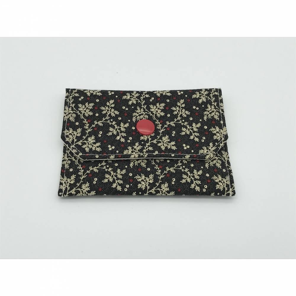 Einfacher Geldbeutel, Kartentasche, Tampontasche, anthrazit-rot-creme mit Druckknopf Bild 1