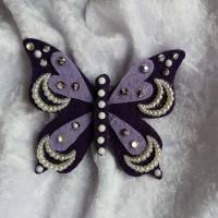 Wunderschöne Brosche Handarbeit Schmetterling in Lila Bild 1