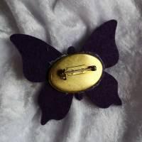 Wunderschöne Brosche Handarbeit Schmetterling in Lila Bild 3