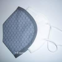 FFP2-Masken Überzug einlagig-wunderschönes, dezentes Blumenmuster auf grau, Baumwolle, waschbar bis 60° Bild 1