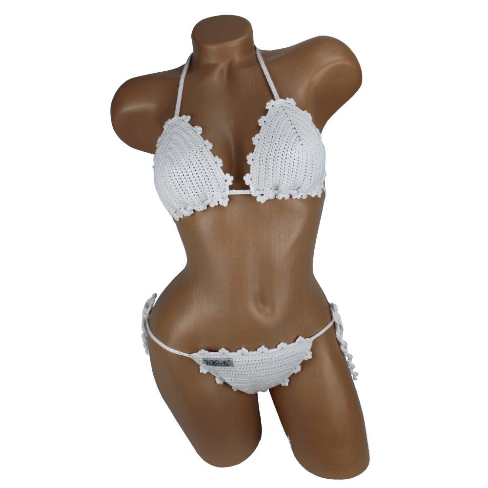 Bikini Damen gehäkelt weiß Häkelbikini Spezialgarn  Bild 1