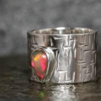 Breiter Opalring / Silberring mit Edel Opal - Geschmiedeter Ring - Handgefertigt aus eigener Goldschmiede Bild 2