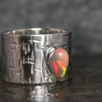 Breiter Opalring / Silberring mit Edel Opal - Geschmiedeter Ring - Handgefertigt aus eigener Goldschmiede Bild 3