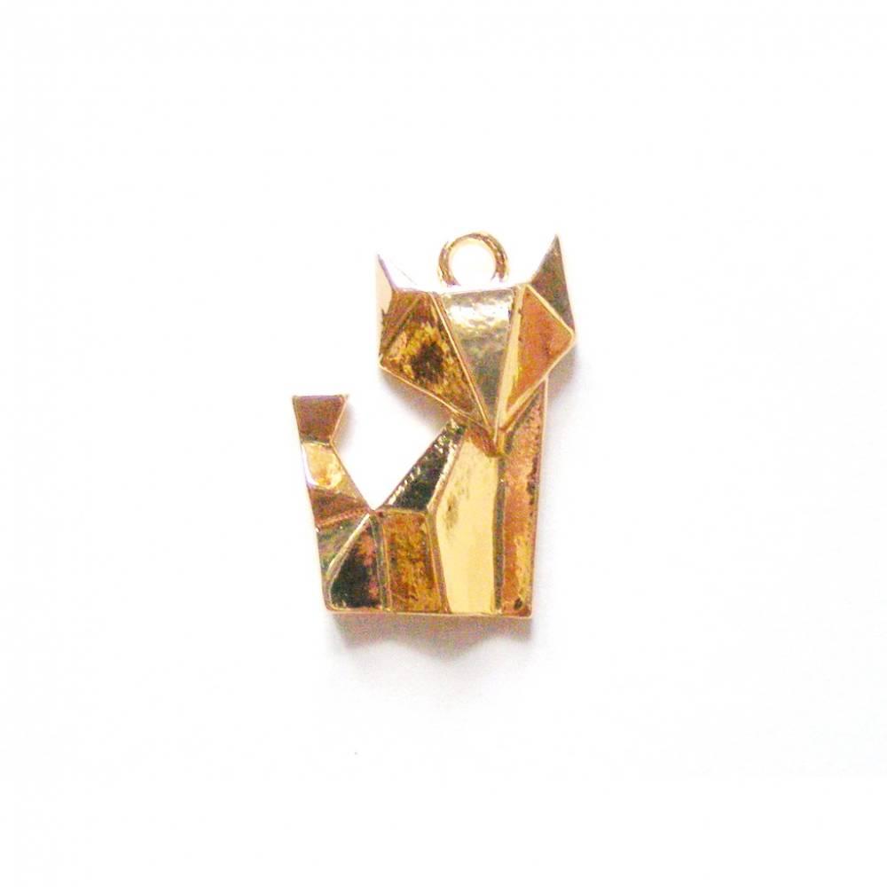 1 Anhänger Origami-Fuchs vergoldet Bild 1