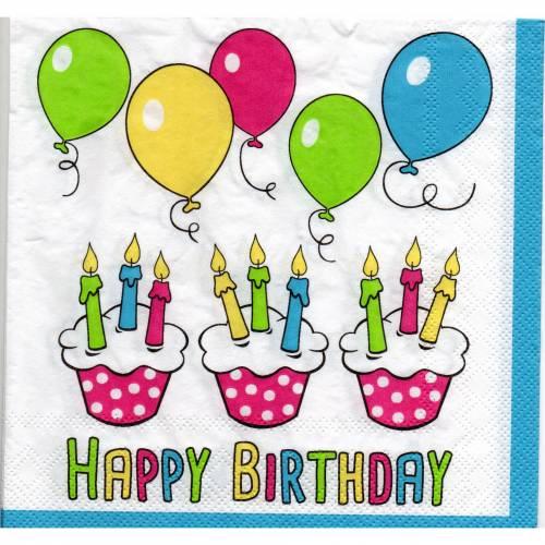 5 Servietten / Motivservietten / Happy Birthday / Muffins / Luftballons /Kerzen /   Anlässe / Feste / Geburtstag / Feier