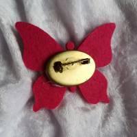 Wunderschöne Brosche Handarbeit Schmetterling in Pink Bild 2