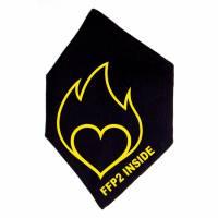 """Überzug für FFP2 Maske """"Entflammtes Herz"""" Schwarz oder Weiß - Motiv in Wunschfarbe Bild 1"""