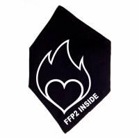 """Überzug für FFP2 Maske """"Entflammtes Herz"""" Schwarz oder Weiß - Motiv in Wunschfarbe Bild 2"""