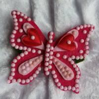 Wunderschöne Brosche Handarbeit Schmetterling in Pink Bild 1