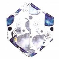 """Überzug für FFP2 Maske """"Galaktische Äpfel"""" - einlagig - 100% Baumwolle - Waschbar - Stoffhülle - Stoffüberzug Bild 3"""