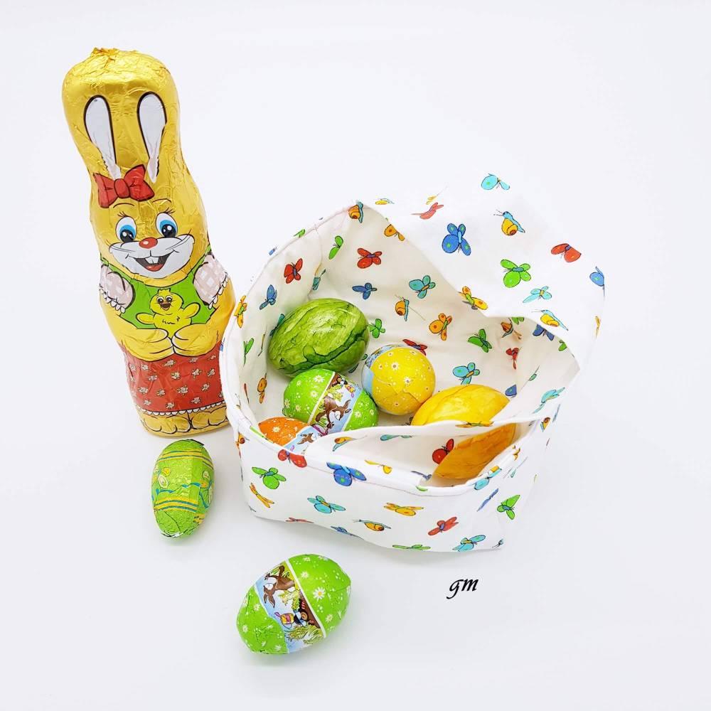 Stoffkorb, kleine Ostertasche, Frühlingserwachen mit Schmetterlingen, Osterbeutel für kleine Geschenke, Bild 1