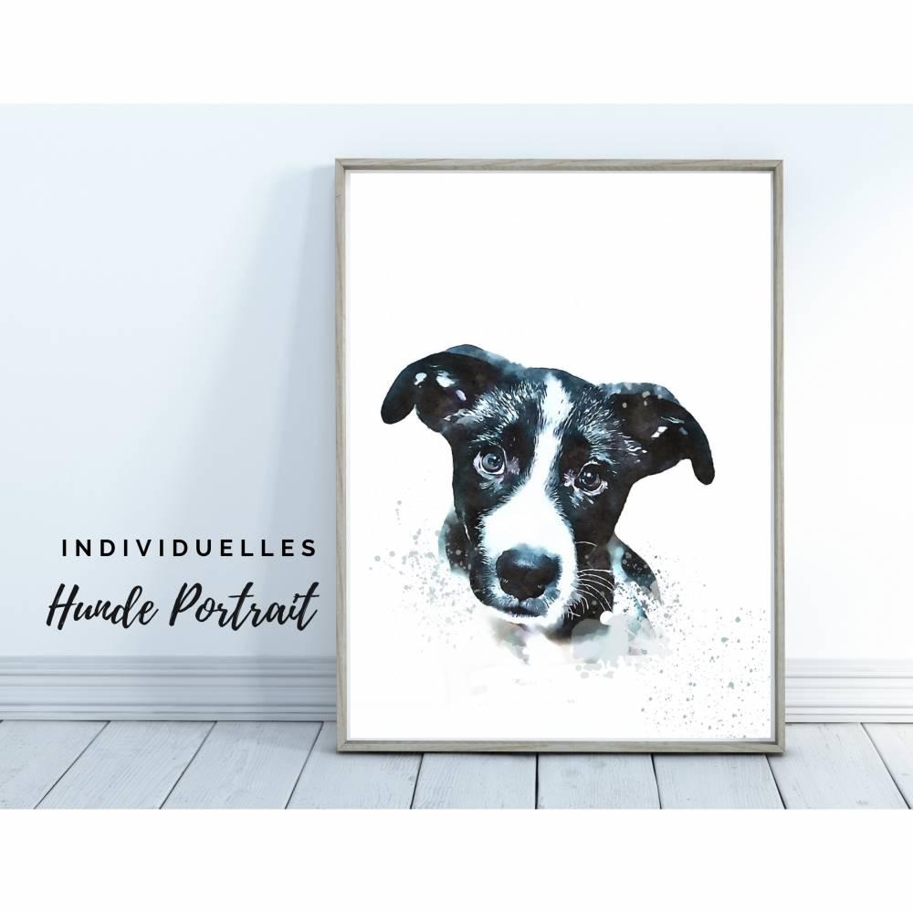 Hunde Portrait | Digital Print im Aquarell Stil | Benutzer definiertes Bild Deines Hundes | Tierportrait nach Foto | Ges Bild 1