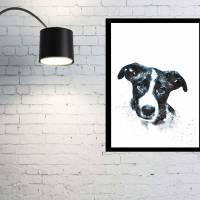 Hunde Portrait | Digital Print im Aquarell Stil | Benutzer definiertes Bild Deines Hundes | Tierportrait nach Foto | Ges Bild 2