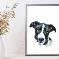 Hunde Portrait | Digital Print im Aquarell Stil | Benutzer definiertes Bild Deines Hundes | Tierportrait nach Foto | Ges Bild 3