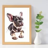 Hunde Portrait | Digital Print im Aquarell Stil | Benutzer definiertes Bild Deines Hundes | Tierportrait nach Foto | Ges Bild 4