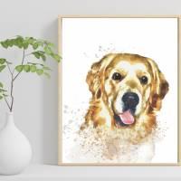 Hunde Portrait | Digital Print im Aquarell Stil | Benutzer definiertes Bild Deines Hundes | Tierportrait nach Foto | Ges Bild 5