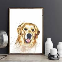 Hunde Portrait | Digital Print im Aquarell Stil | Benutzer definiertes Bild Deines Hundes | Tierportrait nach Foto | Ges Bild 8