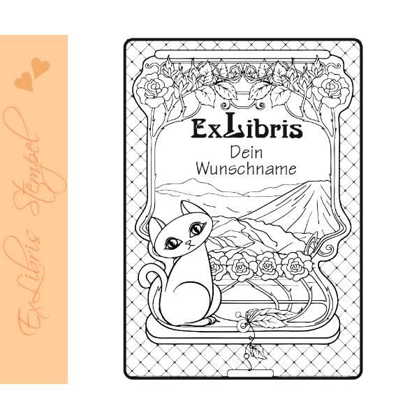 Exlibris Stempel - Ex Libris Stempel - Exlibris Stempel Katzenmotiv - Bücherstempel Katze No.exl-10403 Bild 1