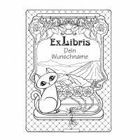 Exlibris Stempel - Ex Libris Stempel - Exlibris Stempel Katzenmotiv - Bücherstempel Katze No.exl-10403 Bild 2