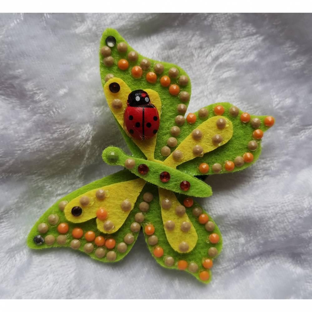 Wunderschöne Brosche Handarbeit Schmetterling in Gelb-Grün Bild 1