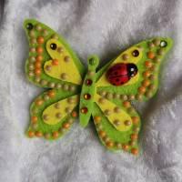 Wunderschöne Brosche Handarbeit Schmetterling in Gelb-Grün Bild 2