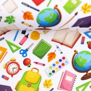 10,90EUR/m Webware Schulsachen Schule Kim Baumwolle weiß bunt Bild 2