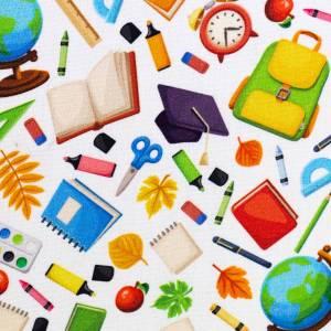 10,90EUR/m Webware Schulsachen Schule Kim Baumwolle weiß bunt Bild 3