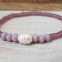 Armband Süsswasserperle Glasperlen mauve rosa elastisch dehnbar Freundschaftsarmband Muttertag Frühling Sommer Bild 1