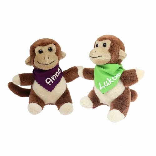 Kuscheltier Affe 14,5cm braun mit Namen am Halstuch - Personalisierte Schmusetiere für Jungen und Mädchen