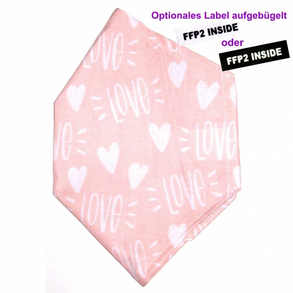 """Überzug für FFP2 Maske """"Love"""" - einlagig - 100% Baumwolle - Waschbar - Stoffhülle - Stoffüberzug Bild 1"""