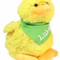 Kuscheltier Küken gelb 12cm mit Namen am Halstuch - Personalisierte Schmusetiere für Jungen und Mädchen Ostergeschenk Bild 2