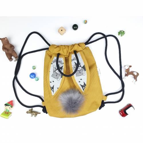 Häschenrucksack Kitatasche mit Ohren Hasenohren Senfgelb Superheld