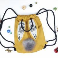 Häschenrucksack Kitatasche mit Ohren Hasenohren Senfgelb Superheld Bild 1