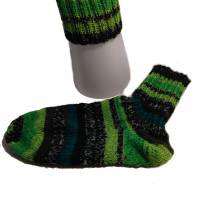 handgestrickte Socken, Größe 40 / 41, 4fach Sockenwolle, grün,  Bild 5