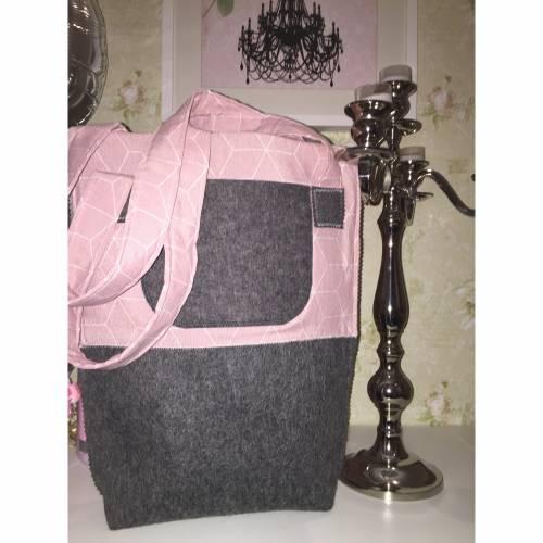 Großer Shopper Wollfilz rosa grau Einkaufstasche Schultertasche Einzelstück