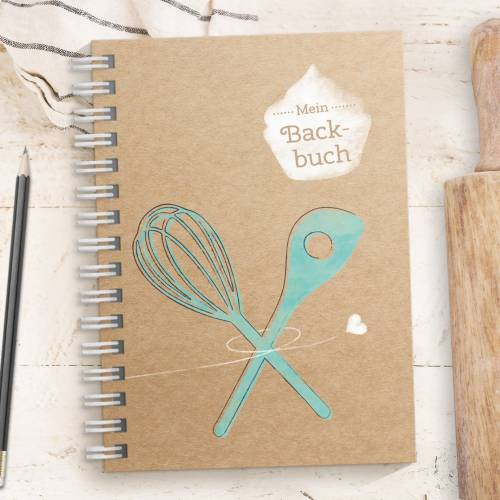 DIY Backbuch für 33 Backrezepte - TÜRKIS, DIN A5