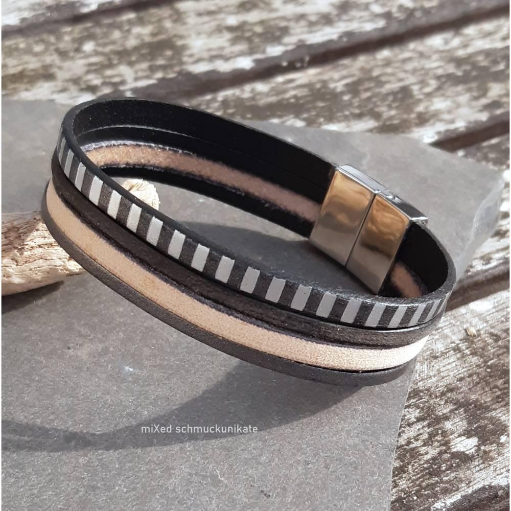 Leder-Armband Silberstreif Bild 1
