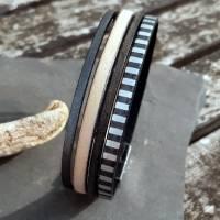 Leder-Armband Silberstreif Bild 3