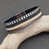 Leder-Armband Silberstreif Bild 7
