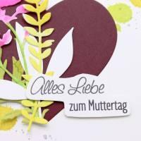 Karte zum Muttertag, Grußkarte, Muttertagskarte mit Herz und Blüten Bild 3