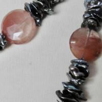 Lange echte Perlen-Kette aus Heilstein Rutilquarz und schwarzen Keshi-Perlen Bild 2