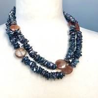 Lange echte Perlen-Kette aus Heilstein Rutilquarz und schwarzen Keshi-Perlen Bild 4