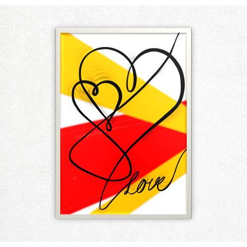 Poster abstrakte Herzen Strichzeichnung | Linienkunst Liebe | minimalistische Linienzeichnung Digitaldruck | Lineart
