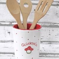 Utensilo, Vase, Kochlöffelbehälter , Glückspilz Design, Keramik handbemalt Bild 2